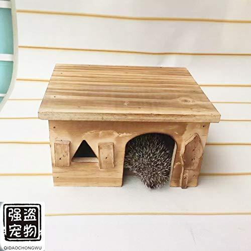 Willlly Maison pour hérisson en bois avec sol pour hérisson, chalet hivernal, rat, hamster, hérisson, extérieur (couleur : 1, taille : 19,5 x 14,5 x 11)