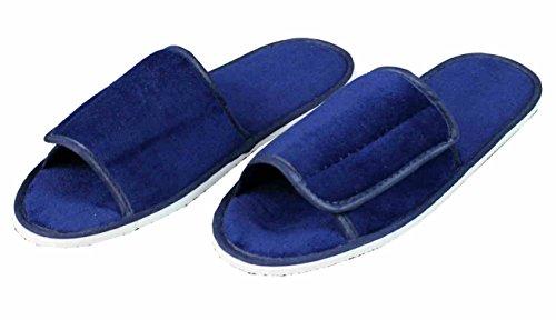 hochwertige Frottee Slipper blau mit Klettverschluß, Schuhe / Hausschuhe / Pantoletten / Hotelslipper / Badeschuhe, Gr. 42 - 46