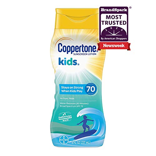 Coppertone KIDS Water-Resistant Sunscreen Lotion Broad Spectrum SPF 70 (8 Fluid Ounce) (Packaging may vary)