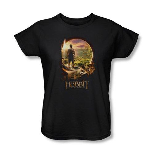 The Hobbit - Frauen in der Tür Hobbit T-Shirt In Schwarz, X-Large, Black