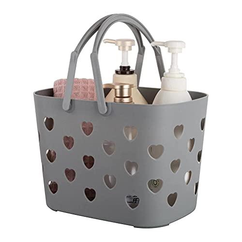 badewanne Cesta de almacenamiento portátil cesta de almacenamiento de inodoro en forma de corazón caja de almacenamiento cosmética portátil cesta de ducha de plástico es adecuada para baño y baño