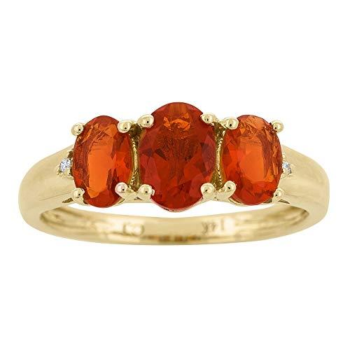 Gin & Grace 14K oro amarillo natural del ópalo de fuego y diamante (I1, I2) (Tamaño 9) 3 Piedra Proponer Promise Ring para la Mujer