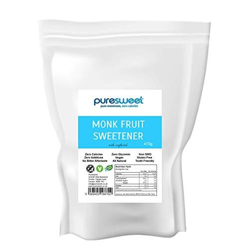 Puresweet - Mönchsfrucht Zucker || Luo Han Guo || Süßstoff für Diabetiker mit Erythrit (470 g)