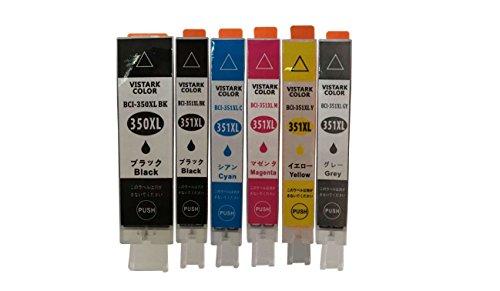 【CLOVERショップ】CANON キャノン プリンターインク PIXUS MG6730/PIXUS MG6330用 純正 互換インクカートリッジ BCI-351XL(BK/C/M/Y/GY)+BCI-350XL(PGBK) マルチパック 大容量 6色セット (PGBKが純正と同じ顔料インク) インクタンク ICチップ付き