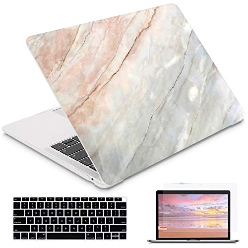 i-King for MacBook Air 13 Inch 2020 2019 2018 Release M1 A2337/A1932/A2179 with Retina Display Touch ID, Plastic Hard Shell Case and Keyboard Cover for Newest MacBook Air 13 - Granite