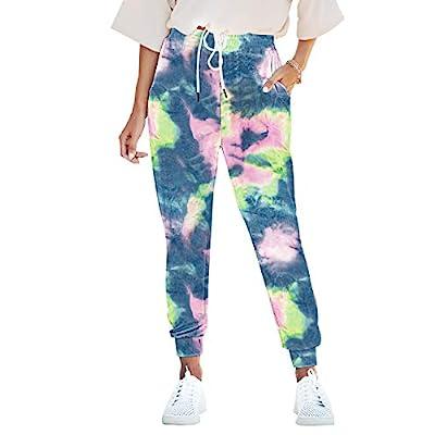 Seyorz Women's Tie Dye Sweatpants French Terry Jogger Pants Drawstring Waisted Yoga Leggings Elastic Cuff with Pocket