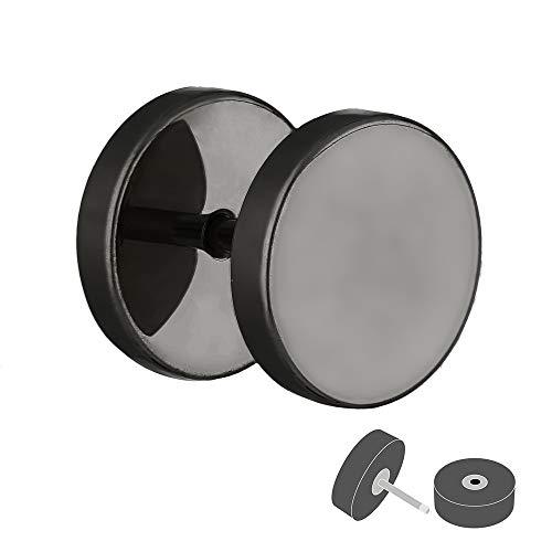 Treuheld® | Fake Plug Ohrstecker aus Titan - 1,2mm x 10mm - schwarz | Fake Tunnel - Ohrring zum Schrauben für Damen und Herren