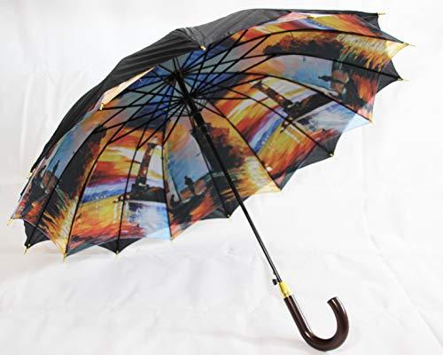 Susino Hochwertiger Regenschirm mit Fotomotiv und Doppelbespannung, in schwarz, Automatik (8911)