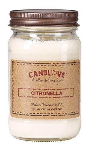 CANDLOVE 'Citronella Scented 16oz Mason Jar Candle 100% Soy Made in The USA