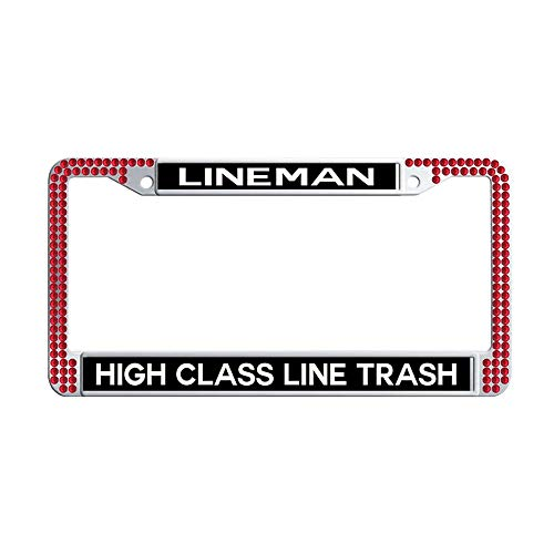 GumiHolders High Class Line Trash Lineman red Rhinestones Car Plate Frame, Shining Crystal Stainless Steel Car Plate Frame(12.25'x6.25')