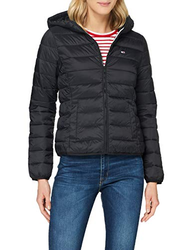 Tommy Jeans Damen Tjw Hooded Quilted Zip Thru Jacke, Schwarz (Black), M