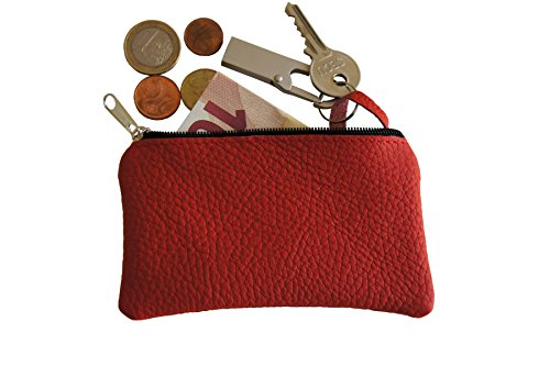 Schlüsseletui, Schlüsseltasche, Schlüsselmäppchen Echt Leder Farbe ROT