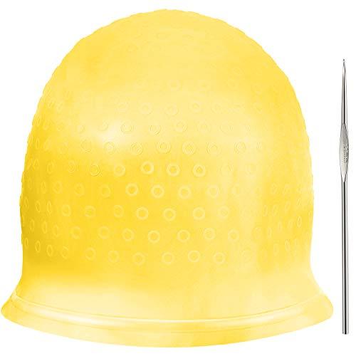 Chapeau de Coloration en silicone Chapeau de Cheveux Soulignant Réutilisable Chapeau de Coloration de Cheveux Dye de Salon avec Crochets pour Teinture des Cheveux de Femmes Filles (Jaune)