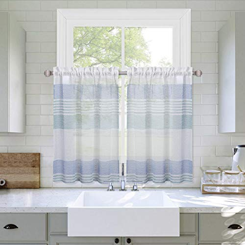 """Haperlare Sheer Kitchen Window Curtains 30 inch, Aqua and Blue Splicing Stripe Small Curtains, Vintage Linen Textured Look Boucle Geometric Half Window Kitchen Cafe Curtains, 27"""" W x 30"""" L, Set of 2"""