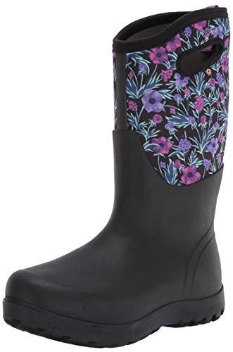 BOGS womens Neo Classic Tall Waterproof Rain Boot, Vine Floral Print - Black, 9 US