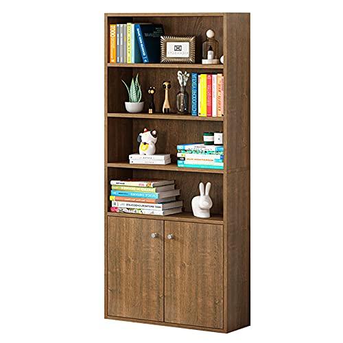 Librería industrial de 6 niveles con puerta Gabinete de estantería Mobiliario de oficina en casa Estantes del organizador Estante de exhibición de almacenamiento para el dormitorio de la sala de estar