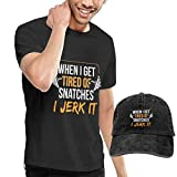 Henrnt Camiseta para Hombre, When I Get Tired of Snatches I Jerk It T Shirt Short Sleeve Denim Hats
