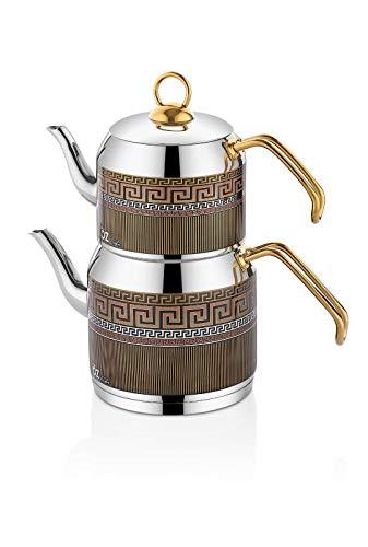 """Türkischer Teekocher Edelstahl Wasserkocher Caydanlik""""Ceylin"""" in Edlem Design Tee Kocher im 4-tlg.Set – Q (Mini)"""