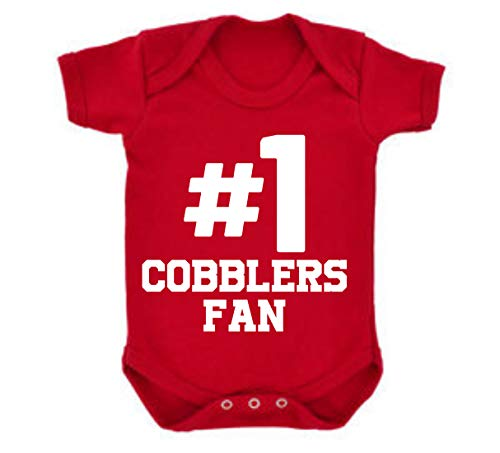 Cobblers Northampton Town Hashtag #1 Number One Football Fan Baby Grow Vest Boy Girl Gift Short Sleeve Baby Grow Romper
