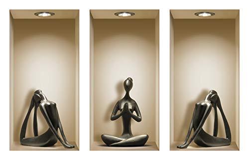 Die entfernbaren Nisha Art Magic 3D-Vinyl-Wandabziehbilder zum Selbermachen, 3er-Set, Schwarze Yoga