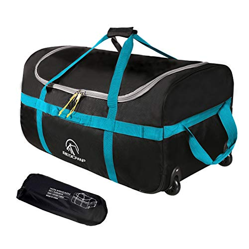 REDCAMP Foldable Duffle Bag with Wheels 85L 26', 1680D Oxford Collapsible Large Duffel Bag with Rollers for Camping Travel Gear, Black
