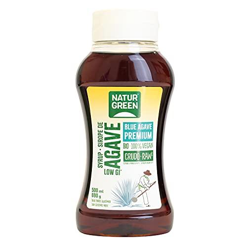 NaturGreen - Sirope Agave Crudo Bio, Endulzante Ecológico, Bajo Índice Glucémico, Apto para Ser Consumido Directamente, Sirope de Agave, 500 Mll/690 G