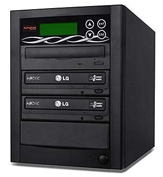 BestDuplicator 2 Target  1 to 2  24X SATA DVD Duplicator Built-in LG Burner DVD Burner  128MB Buffer  + Free Nero 10 Multimedia Suite Essentials CD/DVD Burner Software - Professional DVD CD Duplication Copier Machine