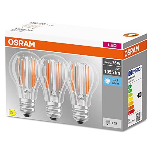 Osram Lampada LED, Attacco: E27, Cool White, 4000 K, 7,50 W, sostituzione per 75 W Incandescent bulb, chiaro, LED BASE CLASSIC A ,Confezione da 3
