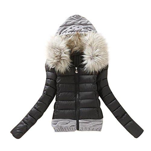 Rela Bota Women's Junior Winter Warm Faux Fur Coats Short Parka Puffer Jacket Outwear Medium Black