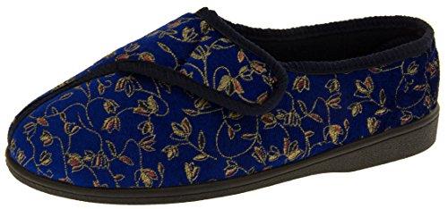 Zapatillas para diábeticos extraanchas, de ortopedia, para mujer, color Azul, talla 35.5