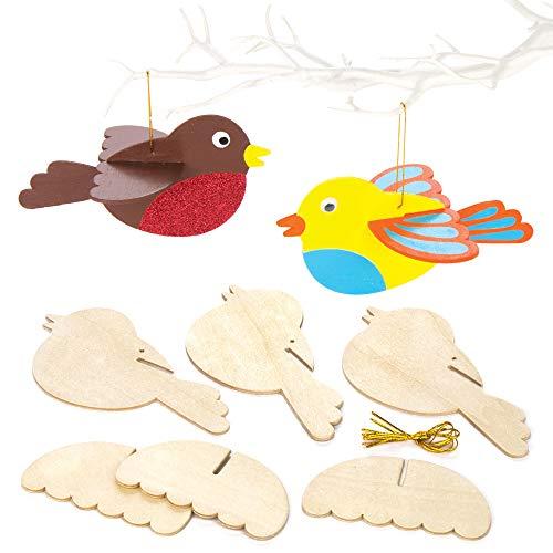 Baker Ross Proyecto de artesanía de pájaros de madera en 3D - Ideal para manualidades, regalos, recuerdos y más para niños (paquete de 6)