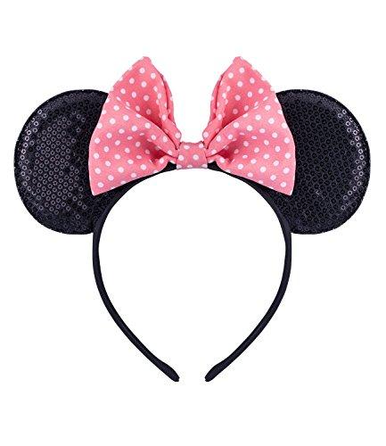 SIX Modischer Haarschmuck mit Minnie-Mouse-Ohren: Disney Haarreif für Kinder mit rosa Textilschleife » Paillettenbestickter Haarschmuck « Haarreif mit 12 cm Länge - leicht (305-241)