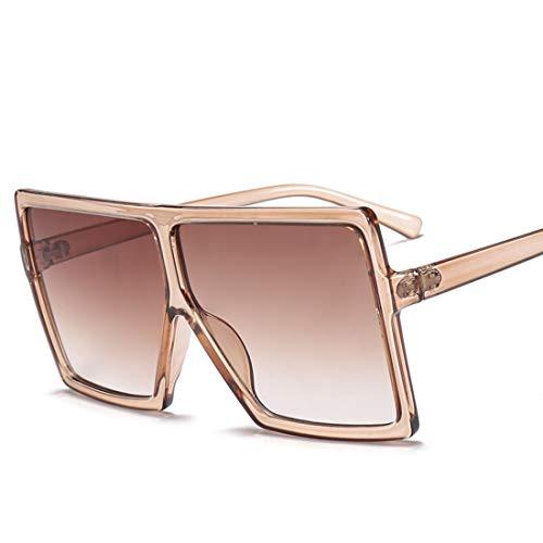 HFSKJ Gafas de Sol, Gafas de Sol con Montura Cuadrada Grande, Gafas de Sol para Mujer, Gafas de Sol de Moda para Todos los Partidos,A