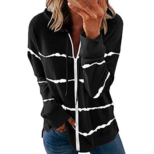 ORANDESIGNE Camiseta Casual de Manga Larga para Mujer a Rayas con Capucha Pullover Sudadera Abrigo Suéter Tops Túnica H Negro M