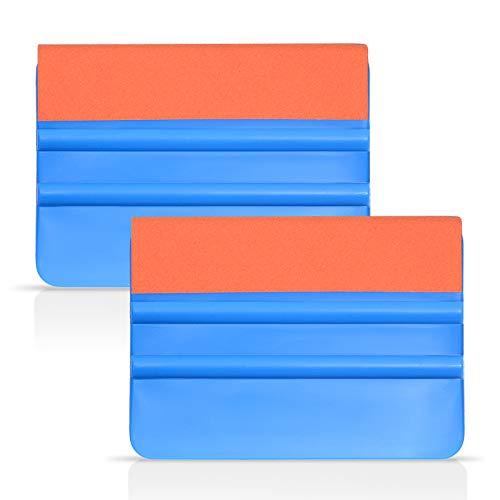 Ehdis® [2 piezas] la alta calidad de fieltro Edge escobilla de goma de 4 pulgadas para la herramienta de aplicador de la etiqueta del vinilo del coche del raspador con el borde de Orange Suede fieltro - PP azules raspador