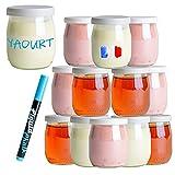 Monboco | Juego de 12 Vasos yogurtera de cristal con tapa hermética | para yogurtera y robot de cocina (thermomix, etc) | 142 ML / 125G | Un bolígrafo borrable de cortesía
