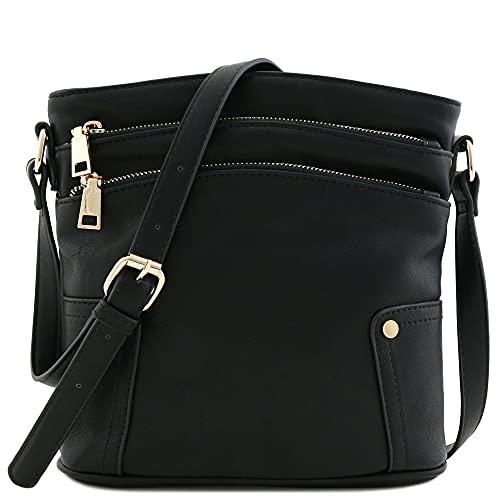Triple Zip Pocket Medium Crossbody Bag (Black)