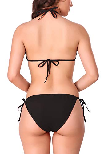Xs and Os Pack of 3 Women Bra Panty Lingerie Set (Black (Black Border), Black (red Border), Black (Pink Border), Free Size)