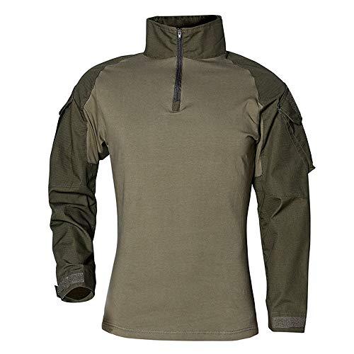 SFYZY Camisa de Manga Larga táctica de Entrenamiento Militar Delgada para Hombres 1/4 Camisa de Camuflaje con Cremallera Delantera Traje de Entrenamiento de Combate al Aire Libre Chaqueta elástica