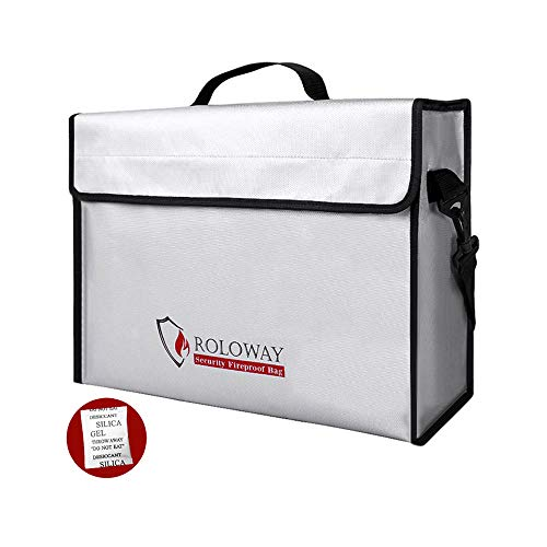 "Fireproof Document & Money Bags, ROLOWAY X Large Fireproof & Water Resistant Bag (15"" x 12"" x 5""), Fireproof Folder Safe Bag for Cash, Valuables, Passport & Jewelry 