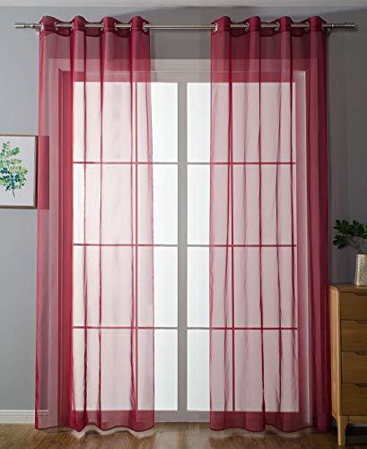 2er-Pack Ösen Gardinen Transparent Vorhang Set Wohnzimmer Voile Ösenvorhang Bleibandabschluß HxB 225x140 cm Bordeaux, 203322