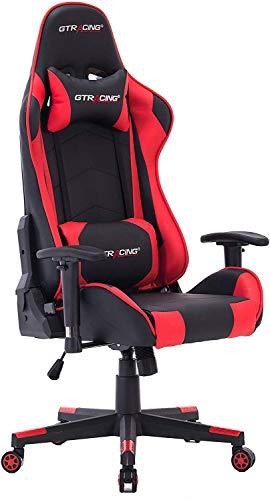 HOGAR24 ES -9222 Rojo-Silla de Escritorio GT-Racing/Profesional Gamer/Silla de Oficina Ergonómica Gaming/Regulable, Reclinable/para Jugadores de PC.