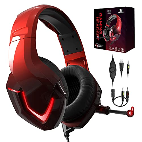 NEEDONE K19 PS4 Kopfhörer mit Kabel und Mikrofon für PC Over Ear Kinder Gaming Headset with mic Computer PS5 Xbox One Nintendo Switch Laptop Mac Playstation 4 Smartphone Stereo Bass Sound Rot
