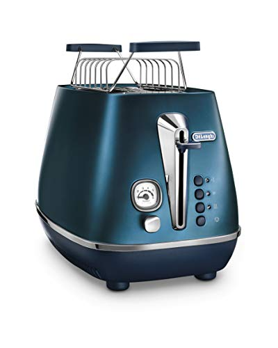 De'Longhi Distinta Flair Toaster CTI2103.BL | 2 Schlitz Toaster | Brötchenaufsatz | Herausnehmbare Krümelschublade | Prestige Blue