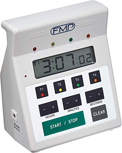 FMP Digital 4 Channel Commercial Kitchen Countdown Timer, Water Resistant, 7-inch Height, White