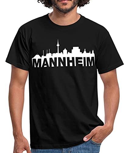 Spreadshirt Mannheim Skyline Weiss Männer T-Shirt, 3XL, Schwarz
