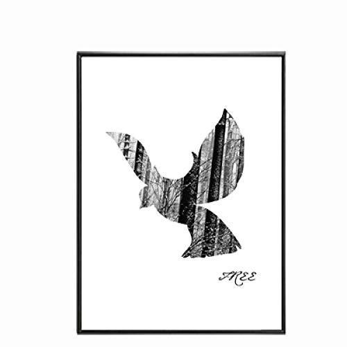 ZJMI canvas druk, modern canvas vogels vliegen in witte hemel abstracte minimalistische kunst foto poster druk woonkamer decoratie 40×60cm No frame