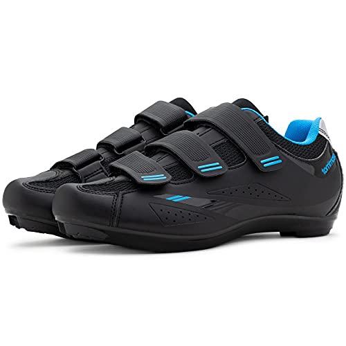 Tommaso Pista Women's Road Bike Cycling Spin Shoe Dual Cleat Compatibility- Black/Blue - 42