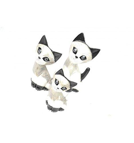 Lot 3 Alegres familia gatos y gato de madera: Amazon.es: Hogar