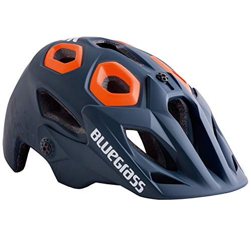 Blue Grass GOLDEN Eyes Helmet - Petrol Blue Textured & ORANGE L Helm, Petrolblau und Orange, Large